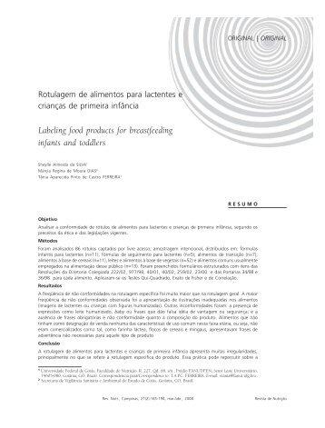 Rotulagem de alimentos para lactentes... (Silva e cols ... - IBFAN Brasil