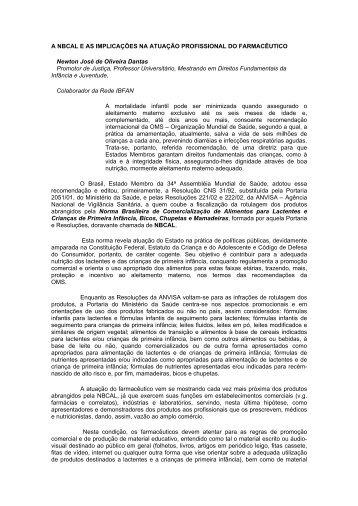 A NBCAL e as implicações na atuação profissional ... - IBFAN Brasil