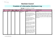 February to December 2009 FOI disclosure log - Newham