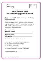 Special Treatment Licence Renewal Form - Newham