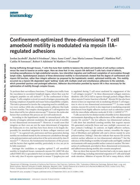 Jacobelli et al. Nature Immunology, 2010 - University of California ...