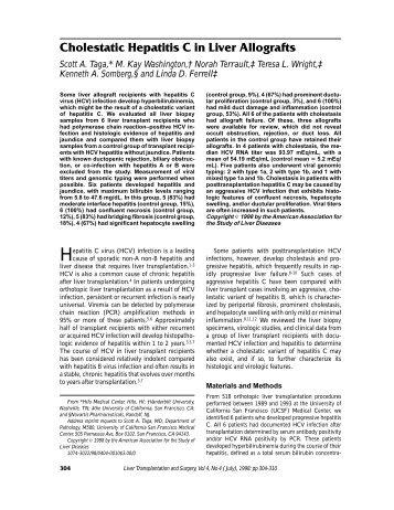 Cholestatic Hepatitis C in Liver Allografts 98 - University of California ...