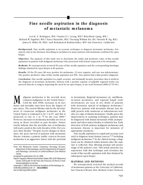 Fine needle aspiration in the diagnosis of metastatic melanoma