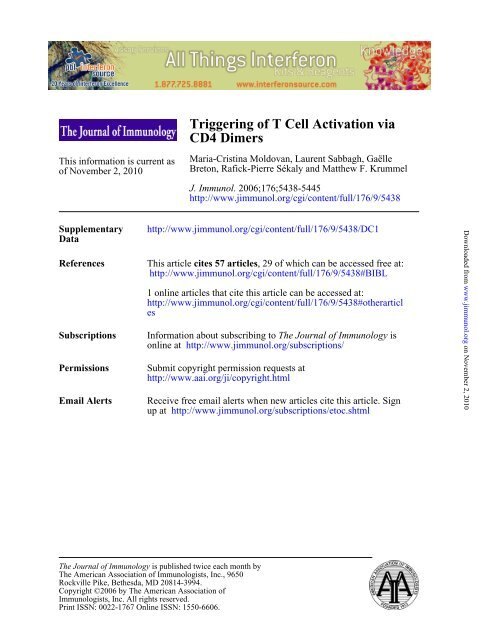 CD4 Dimers Triggering of T Cell Activation via - Departments of ...