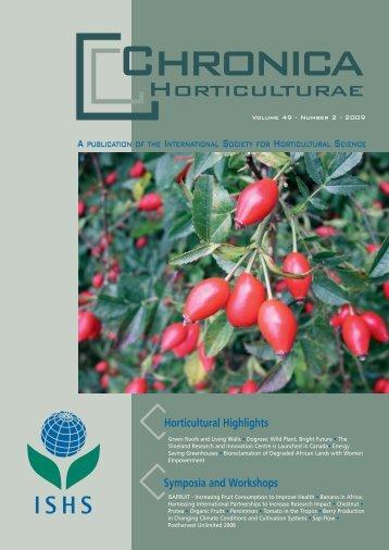Chronica Horticulturae volume 49 number 2 ... - Acta Horticulturae