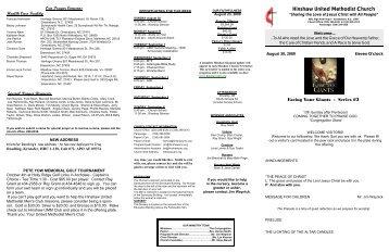 bulletin brochure August 30 2009.pub - Hinshaw United Methodist ...