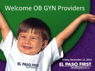 Welcome OB GYN Providers - El Paso First Health Plans, inc.