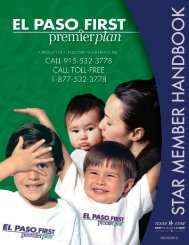 Premier Plan Member Handbook - El Paso First Health Plans, inc.
