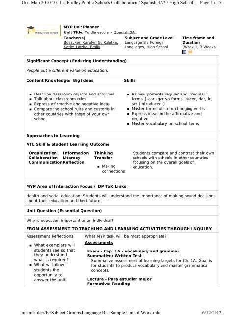 Myp e assessment sample