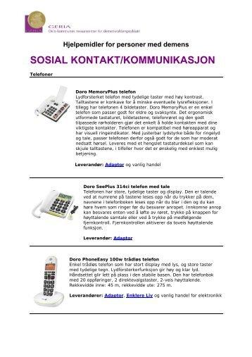 SOSIAL KONTAKT/KOMMUNIKASJON - Helseetaten