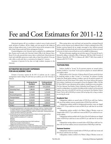 Fee and Cost Estimates for 2011-12 - Catalog of Studies - University ...