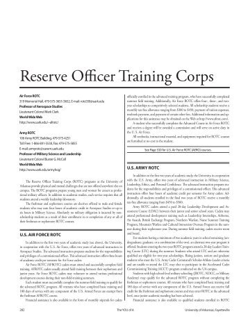 Reserve Officer Training Corps - Catalog of Studies - University of ...