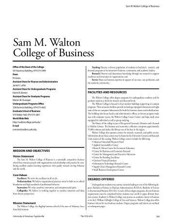 Sam M. Walton College of Business - Catalog of Studies - University ...