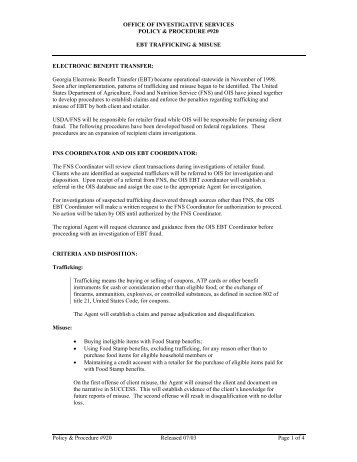 office of investigative services policy - Department of Human Services