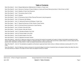 Table of Contents - Department of Human Services