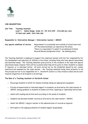 JOB DESCRIPTION Job Title: Teaching Assistant Level 1: Salary ...