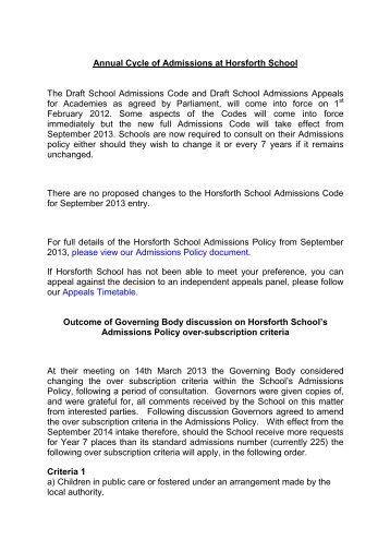 Annual Cycle of Admissions at Horsforth School The Draft School ...