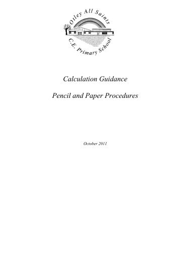 Calculation Guidance Pencil and Paper Procedures