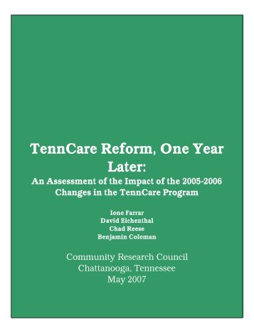 TennCare Reform, One Year Later: - Ochs Center for Metropolitan ...