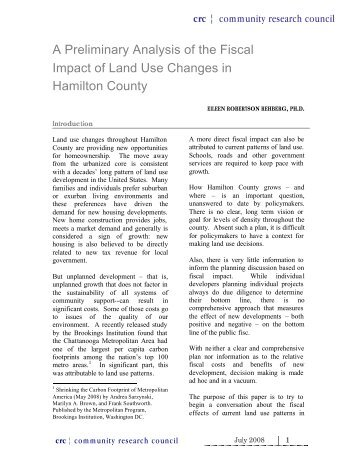 Fiscal Impact of Land Use and Development in Hamilton County