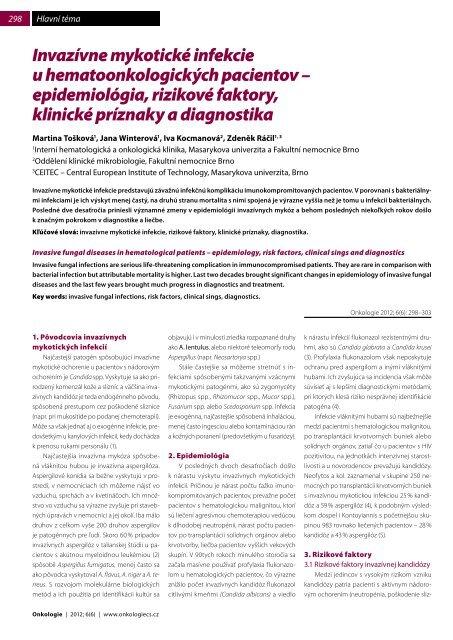 Invazívne mykotické infekcie u hematoonkologických ... - Onkologie
