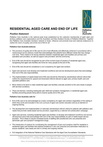 Residential Aged Care and End of Life – Position Statement
