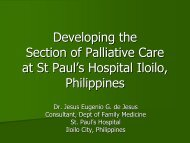 Developing the section of palliative care at St Paul's Hospital Iloilo