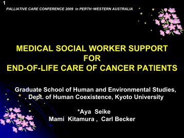 Medical social worker support for end-of-life care of cancer patients