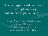The emerging evidence base for complementary medicines in ...