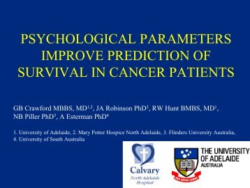 psychological parameters improve prediction of survival in cancer ...