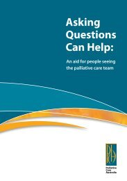Asking Questions Can Help: - Palliative Care Australia