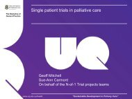 Single patient trials in palliative care - Palliative Care Australia