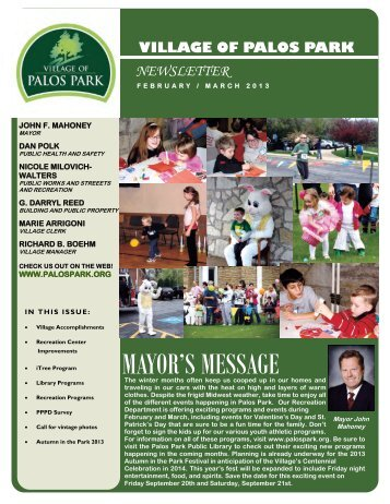MAYOR'S MESSAGE - Village of Palos Park, Illinois