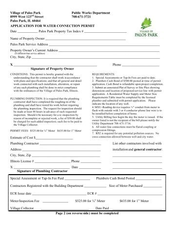 Water Connection Permit Application - Village of Palos Park, Illinois