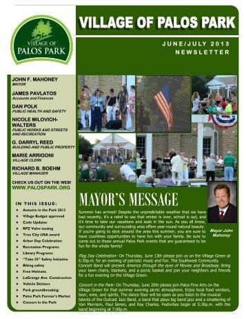 JUNE JULY 2013 NEWSLETTER - Village of Palos Park, Illinois