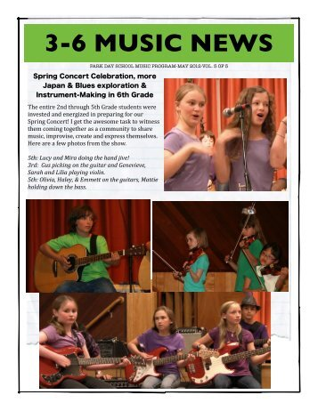 Kelly's 3-6 Music June 2012 Newsletter - Park Day School
