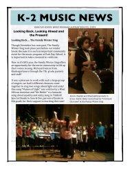 K-2 Newsletter, Music Jan 2012 - Park Day School