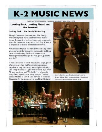 K-2 Newsletter, Music Jan 2012 - Park Day School