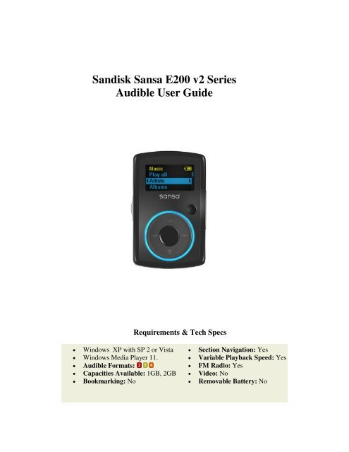 Sandisk Sansa E200 v2 Series Audible User Guide - Audible com