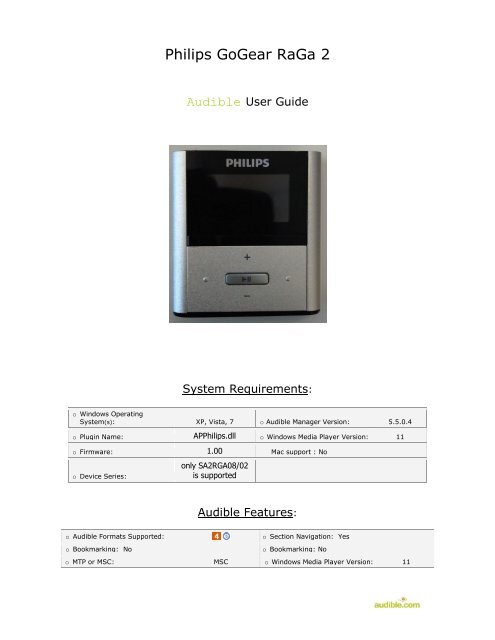 Philips GoGear RaGa 2 - Audible com