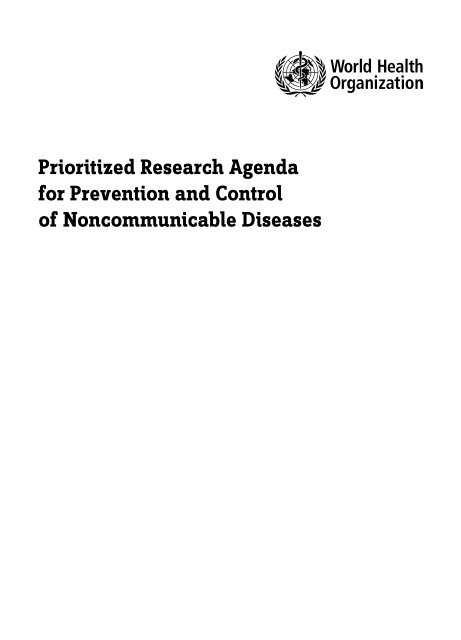 Prioritized Research Agenda for Prevention and Control of ...