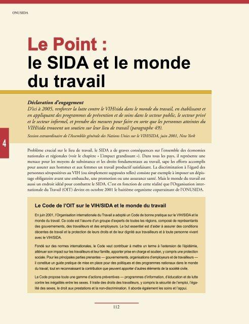 Le Point : le SIDA et le monde du travail - libdoc.who.int