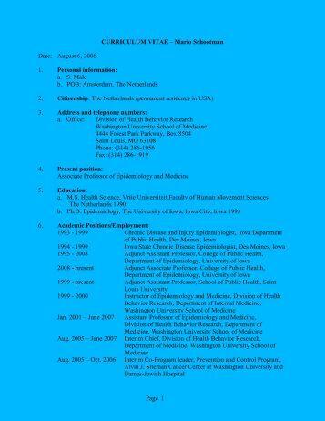 curriculum vitae - Institute for Public Health