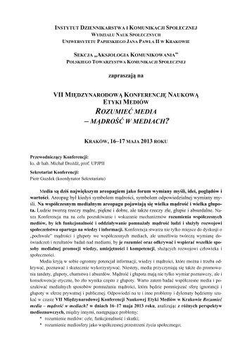 Zaproszenie - Uniwersytet Papieski Jana Pawła II