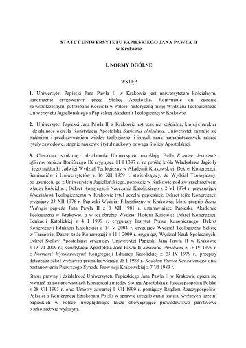 Statut UPJPII - Uniwersytet Papieski Jana Pawła II