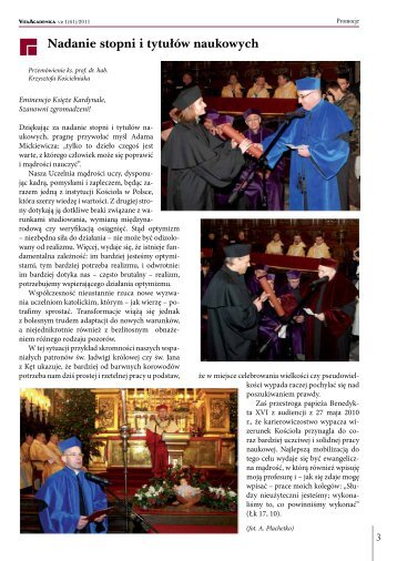 Vita Academica 1(61) - Uniwersytet Papieski Jana Pawła II