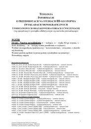 informacje o przedmiotach na studiach iii-go stopnia - Uniwersytet ...
