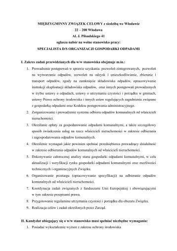MIĘDZYGMINNY ZWIĄZEK CELOWY z siedzibą we ... - Lublin