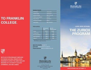 the zurich program to franklin college. - Franklin College Switzerland