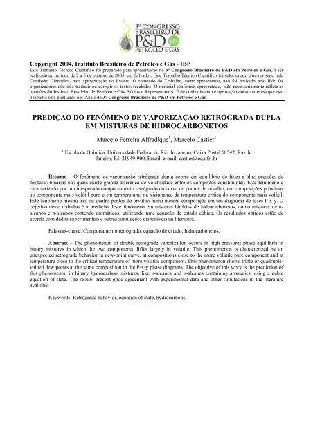 predição do fenômeno de vaporização retrógrada dupla em ... - ABPG